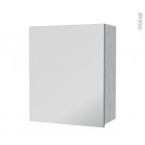 Armoire de salle de bains - Rangement haut - HODA Béton - 1 porte miroir - Côtés décors - L60 x H70 x P27 cm