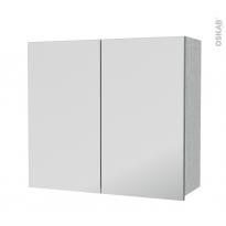Armoire de salle de bains - Rangement haut - HODA Béton - 2 portes miroir - Côtés décors - L80 x H70 x P27 cm