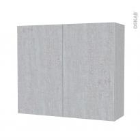 Armoire de salle de bains - Rangement haut - HODA Béton - 2 portes - Côtés décors - L80 x H70 x P27 cm