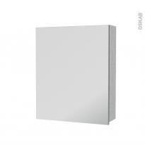 Armoire de toilette - Rangement haut - HODA Béton - 1 porte miroir - Côtés décors - L60 x H70 x P17 cm