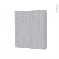 Armoire de toilette - Rangement haut - HODA Béton - 1 porte - Côtés décors - L60 x H70 x P17 cm