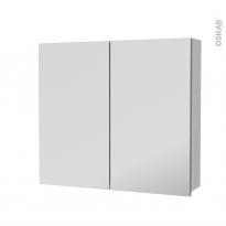 Armoire de toilette - Rangement haut - HODA Béton - 2 portes miroir - Côtés décors - L80 x H70 x P17 cm