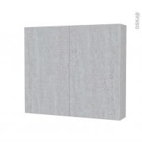 Armoire de toilette - Rangement haut - HODA Béton - 2 portes - Côtés décors - L80 x H70 x P17 cm