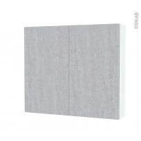 Armoire de toilette - Rangement haut - HODA Béton - 2 portes - Côtés blancs - L80 x H70 x P17 cm