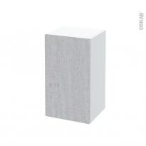 Meuble de salle de bains - Rangement bas - HODA Béton - 1 porte - L40 x H70 x P37 cm