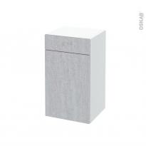 Meuble de salle de bains - Rangement bas - HODA Béton - 1 porte 1 tiroir - L40 x H70 x P37 cm