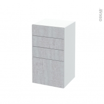 Meuble de salle de bains - Rangement bas - HODA Béton - 4 tiroirs - L40 x H70 x P37 cm