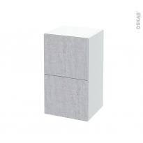 Meuble de salle de bains - Rangement bas - HODA Béton - 2 tiroirs 1 tiroir à l'anglaise - L40 x H70 x P37 cm