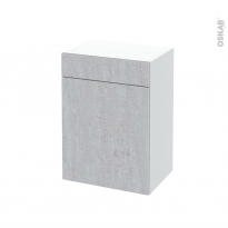 Meuble de salle de bains - Rangement bas - HODA Béton - 1 porte 1 tiroir - L50 x H70 x P37 cm