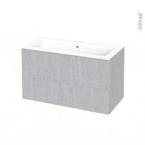 Meuble de salle de bains - Plan vasque NAJA - HODA Béton - 2 tiroirs - Côtés décors - L100,5 x H58,5 x P50,5 cm