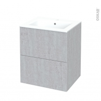 Meuble de salle de bains - Plan vasque NAJA - HODA Béton - 2 tiroirs - Côtés décors - L60,5 x H71,5 x P50,5 cm