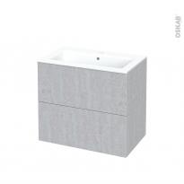 Meuble de salle de bains - Plan vasque NAJA - HODA Béton - 2 tiroirs - Côtés décors - L80.5 x H71.5 x P50.5 cm