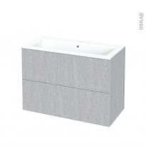 Meuble de salle de bains - Plan vasque NAJA - HODA Béton - 2 tiroirs - Côtés décors - L100,5 x H71,5 x P50,5 cm