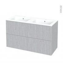 Meuble de salle de bains - Plan double vasque NAJA - HODA Béton - 4 tiroirs - Côtés décors - L120,5 x H71,5 x P50,5 cm