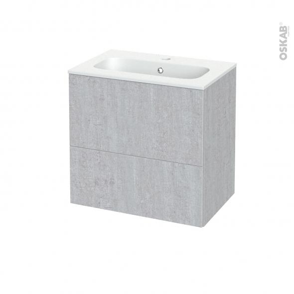 Meuble de salle de bains - Plan vasque REZO - HODA Béton - 2 tiroirs - Côtés décors - L60,5 x H58,5 x P40,5 cm
