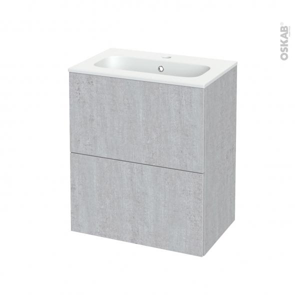 Meuble de salle de bains - Plan vasque REZO - HODA Béton - 2 tiroirs - Côtés décors - L60,5 x H71,5 x P40,5 cm