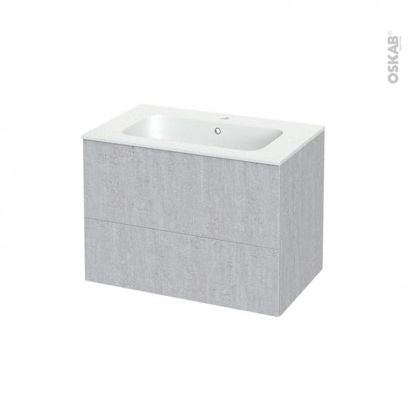 Meuble de salle de bains - Plan vasque REZO - HODA Béton - 2 tiroirs - Côtés décors - L80.5 x H58.5 x P50.5 cm