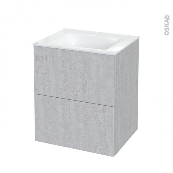Meuble de salle de bains - Plan vasque VALA - HODA Béton - 2 tiroirs - Côtés décors - L60,5 x H71,2 x P50,5 cm