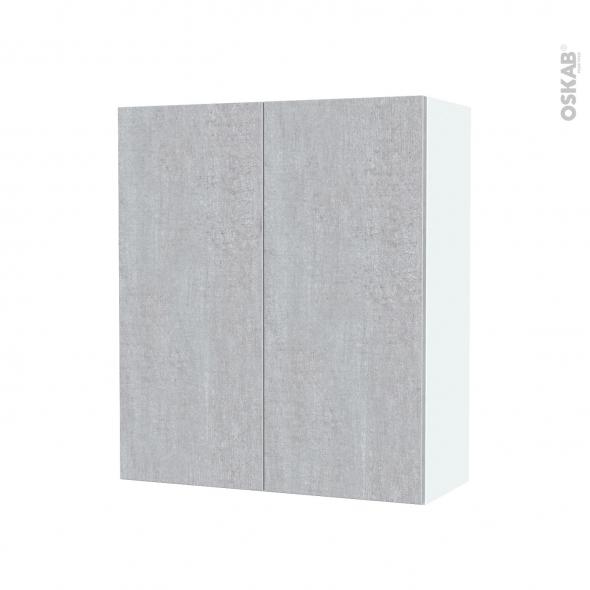 Armoire de salle de bains - Rangement haut - HODA Béton - 2 portes - Côtés blancs - L60 x H70 x P27 cm
