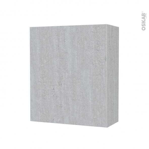 Armoire de salle de bains - Rangement haut - HODA Béton - 1 porte - Côtés décors - L60 x H70 x P27 cm