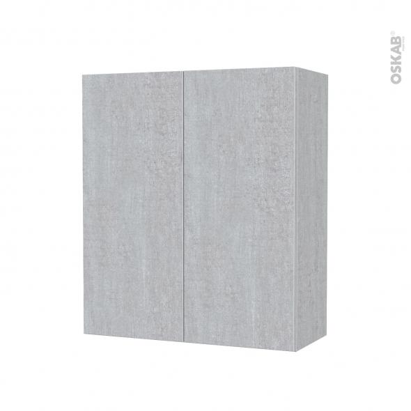 Armoire de salle de bains - Rangement haut - HODA Béton - 2 portes - Côtés décors - L60 x H70 x P27 cm