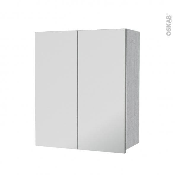 Armoire de salle de bains - Rangement haut - HODA Béton - 2 portes miroir - Côtés décors - L60 x H70  xP27 cm