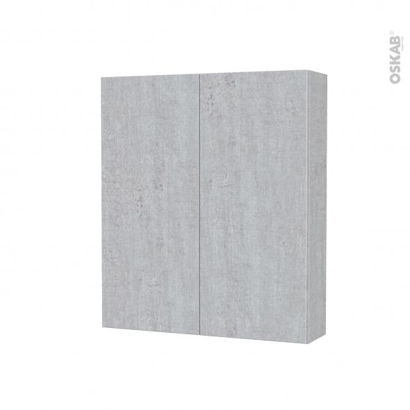 Armoire de toilette - Rangement haut - HODA Béton - 2 portes - Côtés décors - L60 x H70 x P17 cm