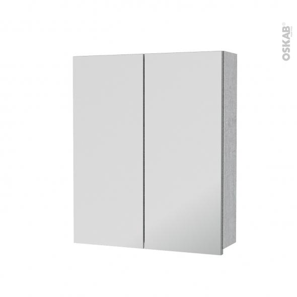 Armoire de toilette - Rangement haut - HODA Béton - 2 portes miroir - Côtés décors - L60 x H70 x P17 cm