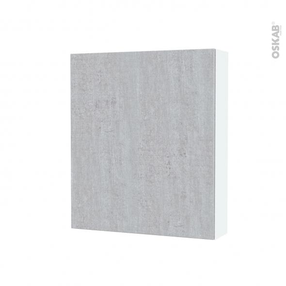 Armoire de toilette - Rangement haut - HODA Béton - 1 porte - Côtés blancs - L60 x H70 x P17 cm