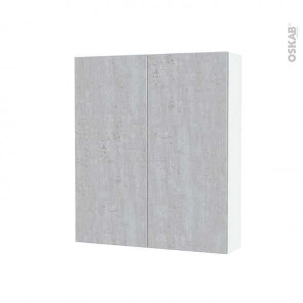 Armoire de toilette - Rangement haut - HODA Béton - 2 portes - Côtés blancs - L60 x H70 x P17 cm