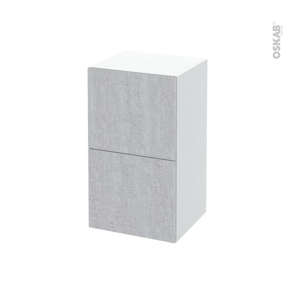 Meuble de salle de bains - Rangement bas - HODA Béton - 2 tiroirs - L40 x H70 x P37 cm