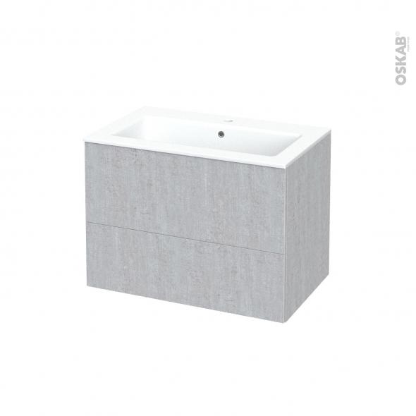 Meuble de salle de bains - Plan vasque NAJA - HODA Béton - 2 tiroirs - Côtés décors - L80.5 x H58.5 x P50.5 cm