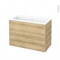 Meuble de salle de bains - Plan vasque NAJA - HOSTA Chêne Naturel - 2 tiroirs - Côtés décors - L100,5 x H71,5 x P50,5 cm