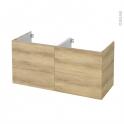 Meuble de salle de bains - Sous vasque double - HOSTA Chêne Naturel - 4 tiroirs - Côtés décors - L120 x H57 x P50 cm