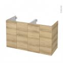 Meuble de salle de bains - Sous vasque double - HOSTA Chêne Naturel - 4 portes - Côtés décors - L120 x H70 x P50 cm