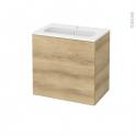 Meuble de salle de bains - Plan vasque REZO - HOSTA Chêne Naturel - 1 porte - Côtés décors - L60,5 x H58,5 x P40,5 cm