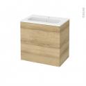 Meuble de salle de bains - Plan vasque REZO - HOSTA Chêne Naturel - 2 tiroirs - Côtés décors - L60,5 x H58,5 x P40,5 cm