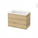 Meuble de salle de bains - Plan vasque REZO - HOSTA Chêne Naturel - 2 tiroirs - Côtés décors - L80,5 x H58,5 x P50,5 cm