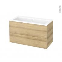 Meuble de salle de bains - Plan vasque NAJA - HOSTA Chêne Naturel - 2 tiroirs - Côtés décors - L100,5 x H58,5 x P50,5 cm