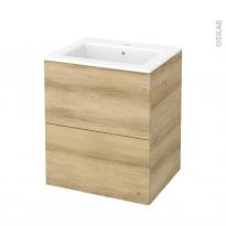 Meuble de salle de bains - Plan vasque NAJA - HOSTA Chêne Naturel - 2 tiroirs - Côtés décors - L60,5 x H71,5 x P50,5 cm