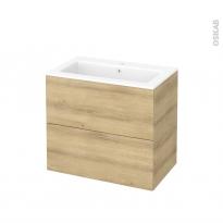Meuble de salle de bains - Plan vasque NAJA - HOSTA Chêne Naturel - 2 tiroirs - Côtés décors - L80,5 x H71,5 x P50,5 cm