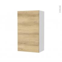 Armoire de salle de bains - Rangement haut - HOSTA Chêne Naturel - 1 porte - Côtés blancs - L40 x H70 x P27 cm