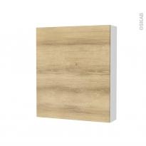 Armoire de toilette - Rangement haut - HOSTA Chêne Naturel - 1 porte - Côtés blancs - L60 x H70 x P17 cm