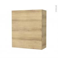 Armoire de salle de bains - Rangement haut - HOSTA Chêne Naturel - 1 porte - Côtés décors - L60 x H70 x P27 cm