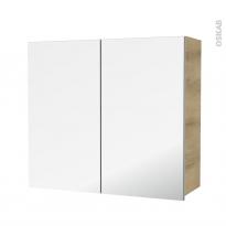 Armoire de salle de bains - Rangement haut - HOSTA Chêne Naturel - 2 portes miroir - Côtés décors - L80 x H70 x P27 cm