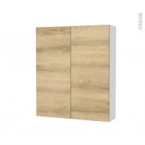Armoire de toilette - Rangement haut - HOSTA Chêne Naturel - 2 portes - Côtés blancs - L60 x H70 x P17 cm