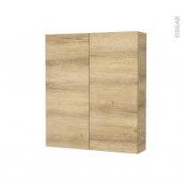 Armoire de toilette - Rangement haut - HOSTA Chêne Naturel - 2 portes - Côtés décors - L60 x H70 x P17 cm