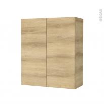 Armoire de salle de bains - Rangement haut - HOSTA Chêne Naturel - 2 portes - Côtés décors - L60 x H70 x P27 cm
