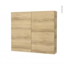 Armoire de toilette - Rangement haut - HOSTA Chêne Naturel - 2 portes - Côtés décors - L80 x H70 x P17 cm