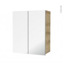 Armoire de salle de bains - Rangement haut - HOSTA Chêne Naturel - 2 portes miroir - Côtés décors - L60 x H70  xP27 cm